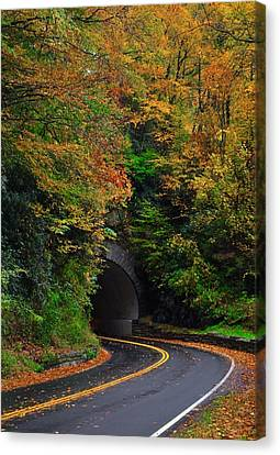 Smokey Mountain Drive Canvas Print - Smokey Mountain Tunnel by Dennis Nelson
