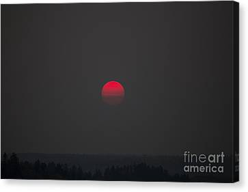 Smokey Red Sun Canvas Print