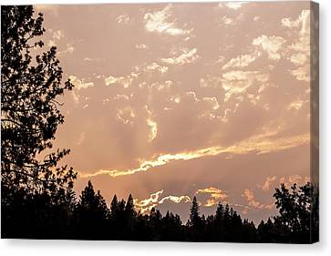 Smokey Skies Sunset Canvas Print by Melanie Lankford Photography