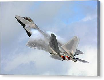 Canvas Print featuring the digital art Smokin - F22 Raptor On The Go by Pat Speirs