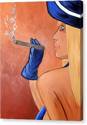 Smokin Madam Canvas Print by Victoria  Johns