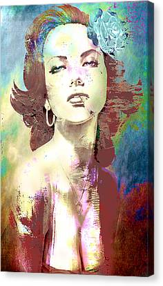 Canvas Print featuring the digital art Smoking Chick by Greg Sharpe
