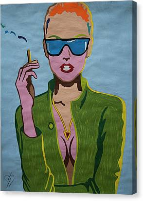 Smoking Woman Sunglasses  Canvas Print