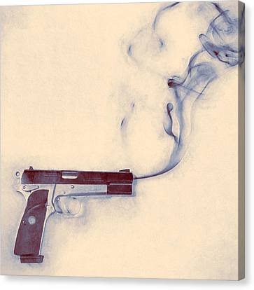 Pistol Canvas Print - Smoking Gun by Scott Norris
