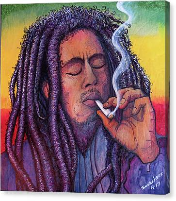 Canvas Print featuring the painting Smoking Marley by David Sockrider