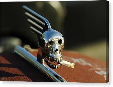 Smoking Skull Hood Ornament Canvas Print