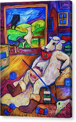 Canvas Print featuring the painting Smoko At The Sheep Shearing Shed by Dianne  Connolly