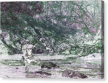 Canvas Print featuring the photograph Smoky Mountain Fisherman by Mike Eingle