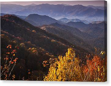 Smoky Mountain Hillsides At Autumn Canvas Print by Andrew Soundarajan