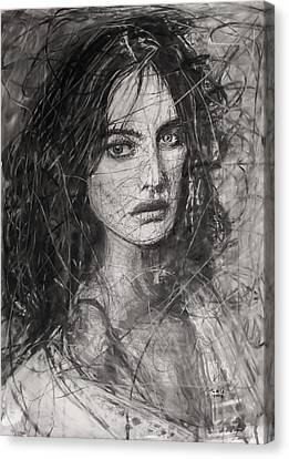 Canvas Print featuring the painting Smoky Noir... Ode To Paolo Roversi And Natalia Vodianova  by Jarko Aka Lui Grande