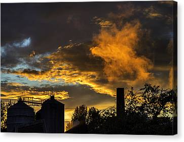 Canvas Print featuring the photograph Smoky Sunset by Jeremy Lavender Photography