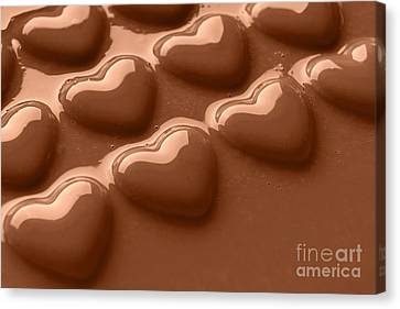Swirling Desires Canvas Print - Smooth Melted Chocolate Hearts  by Richard Thomas