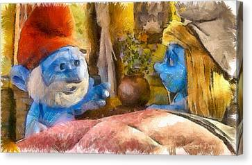 Blond Canvas Print - Smurfette And Papa Smurf - Pa by Leonardo Digenio
