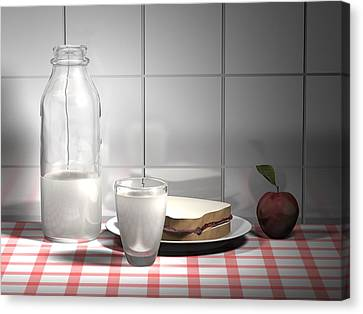 Glass Table Reflection Canvas Print - Snack Computer Rendered Still Life by Nathan Ryan