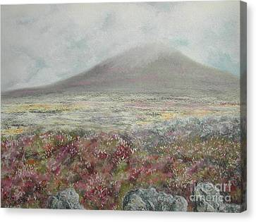 Canvas Print featuring the painting Snaefell Heather by Stanza Widen