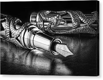 Snake Pen In Black And White Canvas Print by Tom Mc Nemar