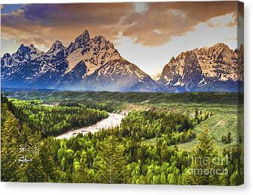 Snake River And The Grand Tetons Canvas Print