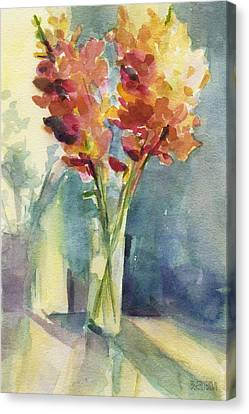 Snapdragons In Morning Light Floral Watercolor Canvas Print by Beverly Brown