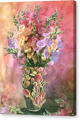 Canvas Print featuring the mixed media Snapdragons In Snapdragon Vase by Carol Cavalaris