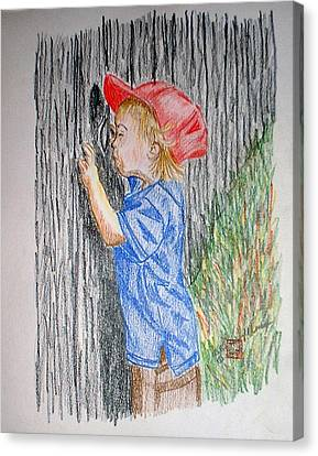 Sneak Peek Canvas Print by Arlene  Wright-Correll