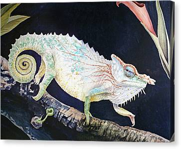 Canvas Print featuring the painting Sneaky Chameleon  by Irina Sztukowski