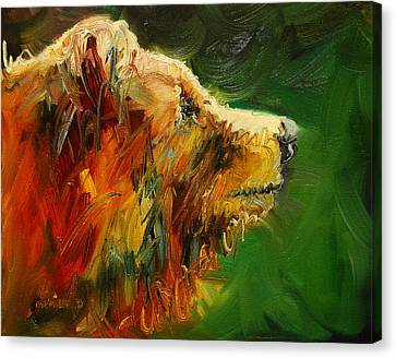 Sniffing For Food Bear Canvas Print by Diane Whitehead