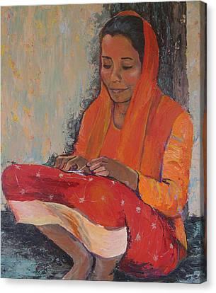 Snipping Threads Canvas Print by Art Nomad Sandra  Hansen