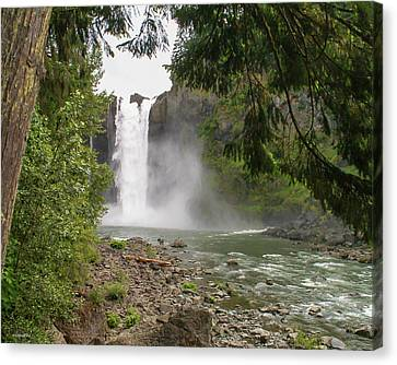 Snoqualmie Falls From Below Canvas Print by Allen Sheffield