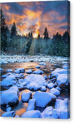 Snoqualmie Falls Sunset Canvas Print by Inge Johnsson