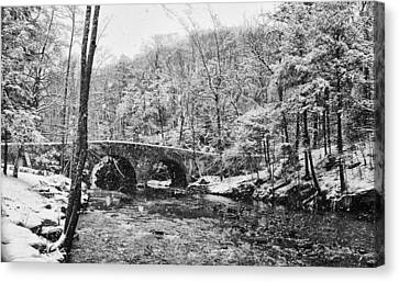 Wissahickon Canvas Print - Snow Along The Wissahickon Creek by Bill Cannon