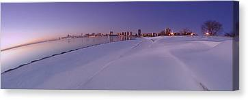 Snow And Chicago Skyline Panoramic Canvas Print by Sven Brogren