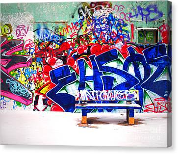 Penticton Canvas Print - Snow And Graffiti by Tara Turner