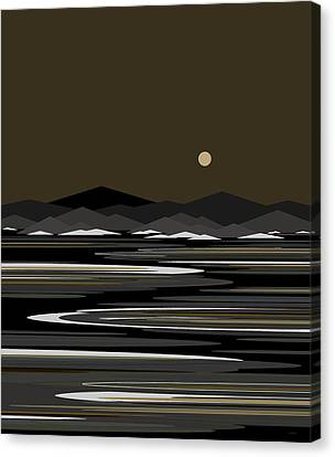 Snow And Ice - Night River Canvas Print by Val Arie