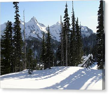 Snow And Shadows On The Mountain Canvas Print by Jane Eleanor Nicholas