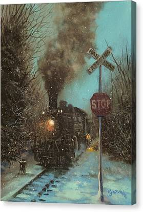 Snow And Steam Canvas Print by Tom Shropshire