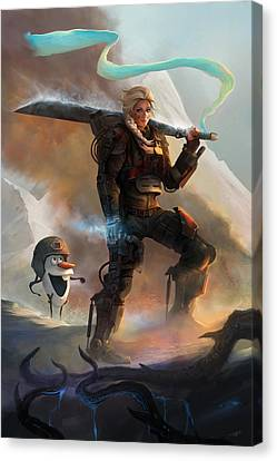Canvas Print featuring the digital art Snow Angel Of Verdun by Steve Goad