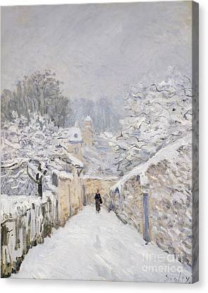 Snow-covered Landscape Canvas Print - Snow At Louveciennes by Alfred Sisley