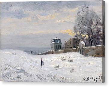 Snow At Montmartre Canvas Print by Hippolyte Camille Delpy
