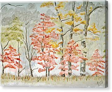 Snow At The Edge Of The Woods Canvas Print by Fran Hoffpauir
