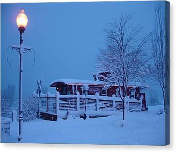 Snow Caboose Canvas Print by Matthew Adair