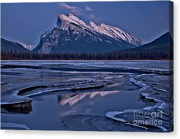 Canvas Print - Snow Capped Rundle Reflections by Adam Jewell