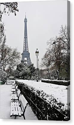 Snow Carpets Benches And Eiffel Tower Canvas Print by Jade and Bertrand Maitre