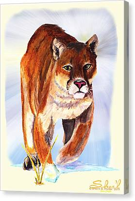 Snow Cougar Canvas Print by Sherril Porter