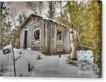 Snow Covered Abandon Cabin Canvas Print by Patrick Shupert