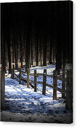 Canvas Print featuring the digital art Snow Covered Bridge by Kim Henderson