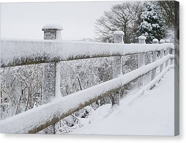 Snow Covered Fence Canvas Print by Helen Northcott
