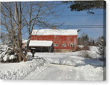 Canvas Print featuring the photograph Snow Covered Masachussetts Barn by John Black