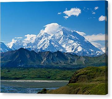 Snow-covered Mount Mckinley, Blue Sky Canvas Print