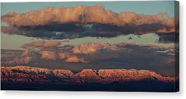 Canvas Print featuring the photograph Snow Covered Red Rock Panorama by Ron Chilston