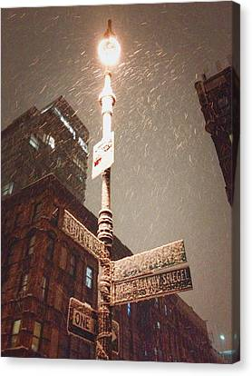 Snow Covered Signs - New York City Canvas Print by Vivienne Gucwa